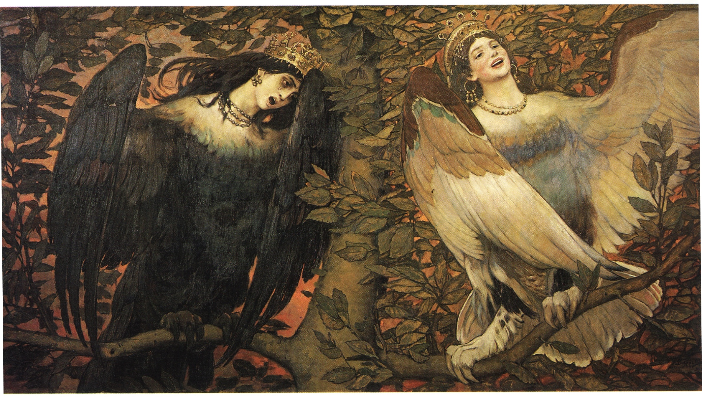 Viktor Vasnetsov (1896) Birds of Joy and Sorrow - Sirin (right) and Alkonost (left)